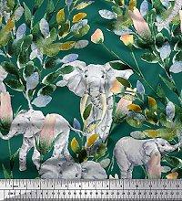Soimoi Cotton Duck Fabric Leaves,Floral & Elephant