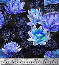 Soimoi Cotton Duck Fabric Paisley,Leaves & Lotus
