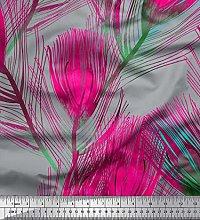 Soimoi Cotton Duck Fabric Peacock Feather Print