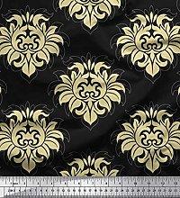 Soimoi Cotton Duck Fabric Seamless Baroque Damask
