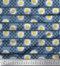 Soimoi Cotton Duck Fabric Stripe,Square & Daisy