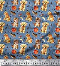 Soimoi Cotton Poplin Fabric Footprint,Dog & Cat