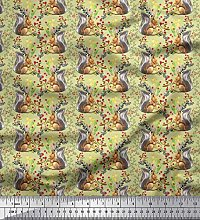 Soimoi Cotton Poplin Fabric Leaves,Floral &