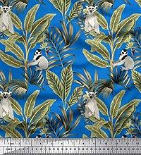 Soimoi Cotton Poplin Fabric Leaves & Lemur Animal