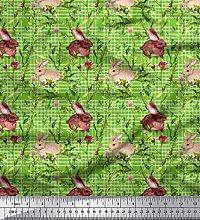 Soimoi Cotton Poplin Fabric Leaves & Rabbit Animal