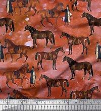 Soimoi Cotton Poplin Fabric Men & Horse Animal