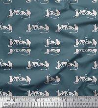Soimoi Cotton Poplin Fabric Monkey Animal Print
