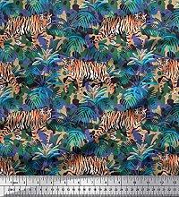 Soimoi Cotton Poplin Fabric texture,leaves & tiger