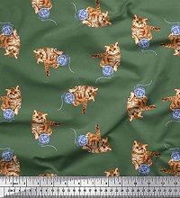 Soimoi Cotton Poplin Fabric Wool & Cat Animal