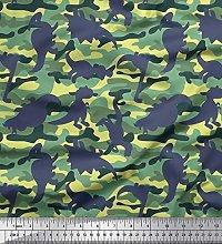 Soimoi Cotton Voile Fabric Camouflage Texture &