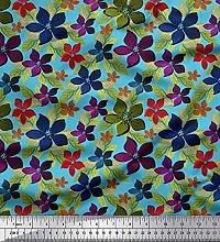 Soimoi Crepe Silk Fabric Leaves & Floral Artistic