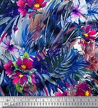 Soimoi Crepe Silk Fabric Leaves & Floral Texture