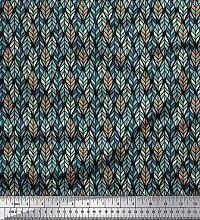 Soimoi Crepe Silk Fabric Leaves Small Print Fabric