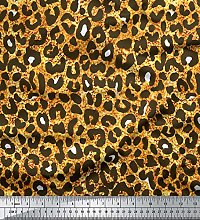 Soimoi Gold Cotton Poplin Fabric Leopard Animal