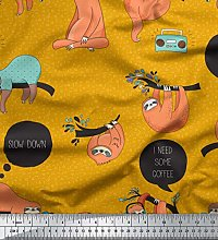 Soimoi Gold Cotton Voile Fabric Text & Sloth