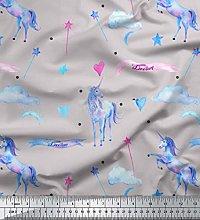 Soimoi Gray Cotton Cambric Fabric Cloud & Unicorn