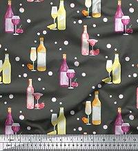 Soimoi Gray Cotton Duck Fabric Bottle & Wine Glass