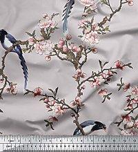 Soimoi Gray Cotton Duck Fabric Floral & Paradise