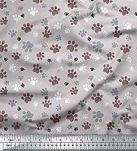 Soimoi Gray Cotton Duck Fabric Paw Dog Decor