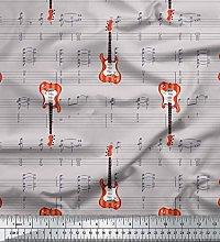 Soimoi Gray Heavy Canvas Fabric Notes & Guitar