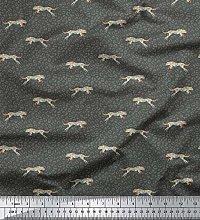 Soimoi Gray Silk Fabric Leopard Animal Skin Print