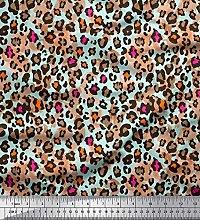 Soimoi Green Cotton Poplin Fabric Leopard Animal