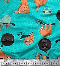 Soimoi Green Cotton Poplin Fabric Text & Sloth