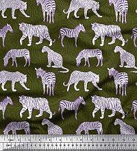 Soimoi Green Cotton Poplin Fabric Tiger,Leopard &