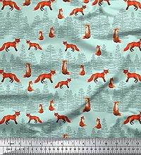Soimoi Green Cotton Voile Fabric Cedar Tree & Fox