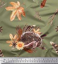 Soimoi Green Cotton Voile Fabric Leaves & Hedgehog