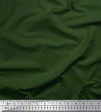 Soimoi Green Crepe Silk Fabric Dark Green Dark