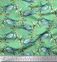 Soimoi Green Heavy Canvas Fabric Crabs Ocean Decor