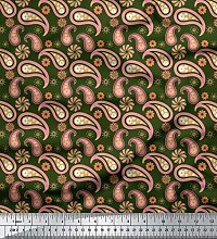 Soimoi Green Heavy Canvas Fabric Floral & Paisley