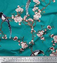 Soimoi Green Heavy Canvas Fabric Floral & Paradise