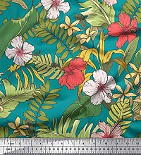 Soimoi Green Heavy Canvas Fabric Tropical Leaves &