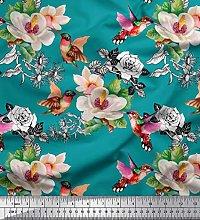 Soimoi Green Heavy Satin Fabric Hummingbird,Leaves