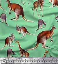 Soimoi Green Rayon Fabric Kangaroo & Giraffe