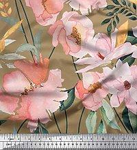 Soimoi Green Satin Silk Fabric Leaves & Magnolia