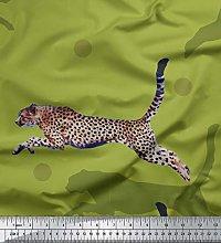 Soimoi Green Viscose Chiffon Fabric Dot & Jumping