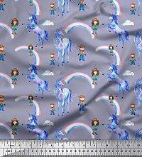 Soimoi Grey Cotton Cambric Fabric Kids,Rainbow &