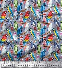 Soimoi Grey Cotton Duck Fabric Branch & Colorful