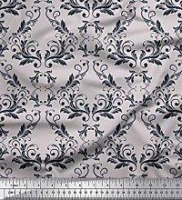 Soimoi Grey Satin Silk Fabric Filigree Damask