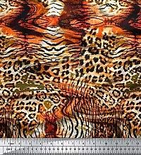 Soimoi Orange Cotton Poplin Fabric Leopard & Tiger
