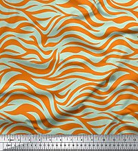 Soimoi Orange Moss Georgette Fabric Wild Animal