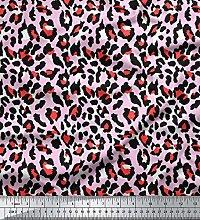 Soimoi Pink Cotton Poplin Fabric Leopard Animal