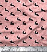 Soimoi Pink Japan Crepe Satin Fabric Fish & Cat