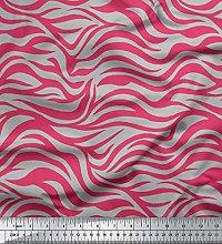 Soimoi Pink Moss Georgette Fabric Wild Animal Skin