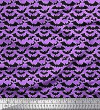 Soimoi Purple Cotton Cambric Fabric Bats Animal