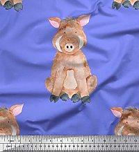 Soimoi Purple Cotton Cambric Fabric Pig Animal
