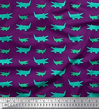 Soimoi Purple Cotton Duck Fabric Crocodile Cartoon